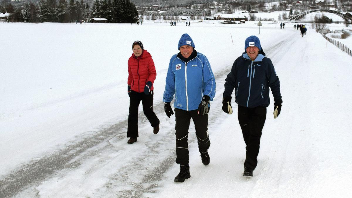 I TET: Gerd Haug, Hallstein Strypet og Kjell Barstad rykket fra de andre.