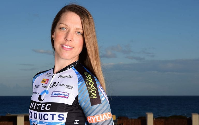 KLAR FOR LANDSLAGET: Julie Meyer Solvang sykler for Norges eneste profflag, Hitec Products, og i juni skal hun sykle for elitelandslaget. Foto: privat