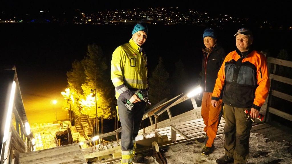 DUGNAD: Terje Samuelshaug, Tor Eggestad og Øystein Nerby er ivrige for å ruste opp Sandeggbakken. Foto: Privat