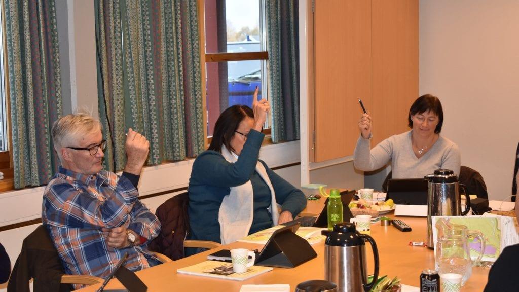 STEMTE NEI: Senterpartigruppa i formannskapet, Audun Eggset, Olov Grøtting og Mona Murud, gikk imot detaljregulering for Steimosletta. Foto: Torstein Sagbakken.