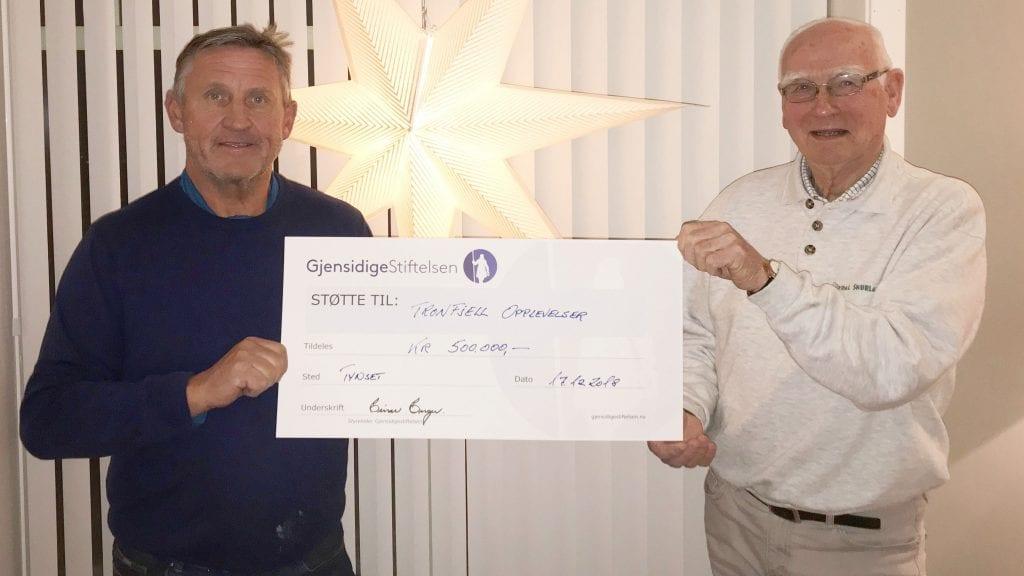 TAKKNEMLIGE: Jan Inge Gjermundshaug og Jarle Tronslien setter enorm pris alle som har gitt Tronfjell Opplevelser støtte så langt. Foto: Torstein Sagbakken.