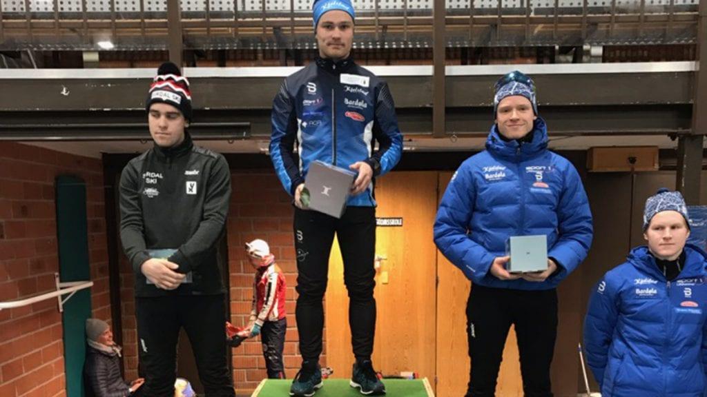TREDJE: Petter Austberg Bjørn tok en fin tredjeplass, Med en bom mindre kunne han fort stått på toppen av pallen. Foto: Privat