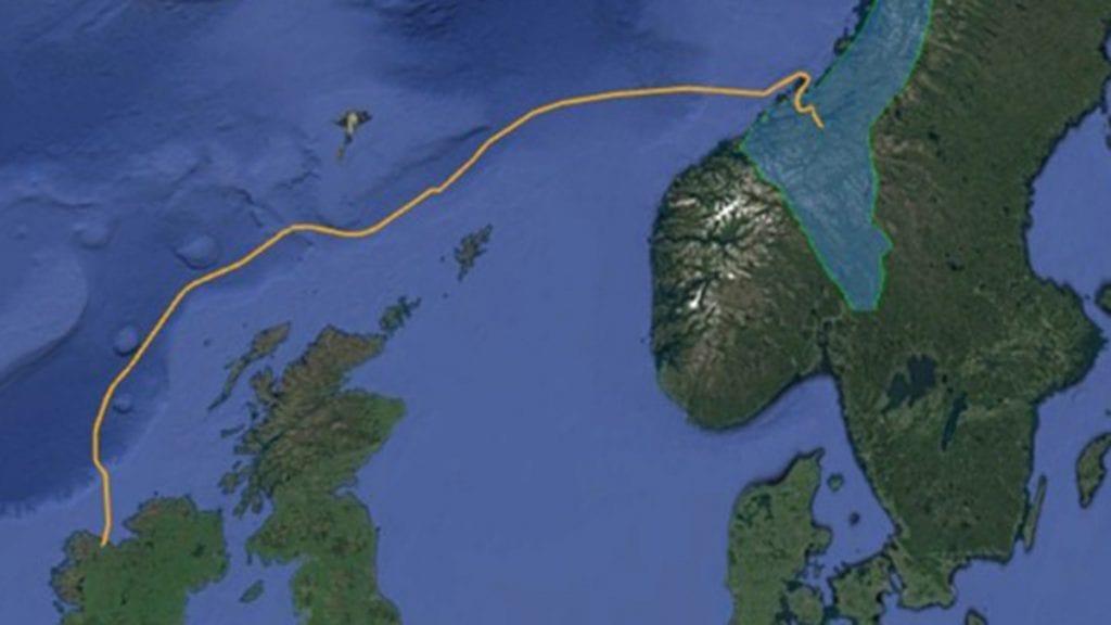AMBISIØST: Nordavind ønsker å bygge en fiberkabel fra Irland til Trøndelag. Illustrasjon: Nordavind DC Sites