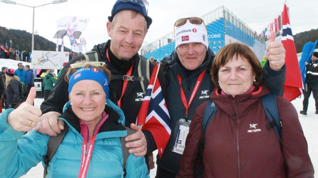 OPPLEVELSE: Gerd Marie og Ketil Gjermundshaug, Viggo Samuelshaug og Marit Iversøn har hatt flotte dager i Seefeld. Foto: Svein Halvor Moe