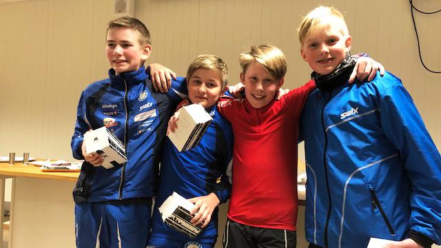 FLEST: De i alderen 13 år sto for flest under klubbmesterskapet onsdag kveld. Fra venstre: Henrik Inderberg Langodden, Jørgen Murud, Even Stormoen Sæteren og Iver Bertelrud. Alle foto: Privat.