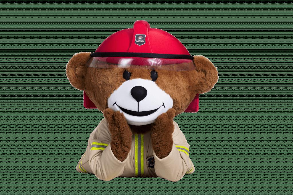 POPULÆR BAMSE: Brannbamsen Bjørnis er populær på youtube, med over 11 millioner visninger. Foto: Midt-Hedmark brann og redningsvesen